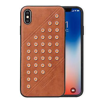 For iPhone XS MAX Cover,Modish Light Leather Back Shell Phone Case,Brown