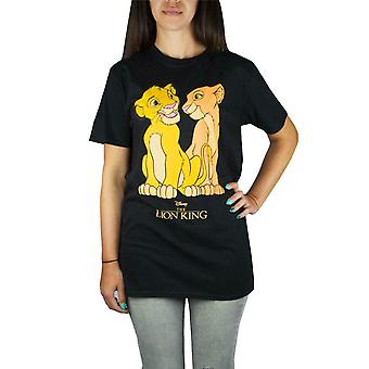 Disney The Lion King Simba And Nala Women's/Ladies Black T-Shirt