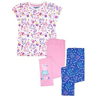 Peppa Pig Girls Short Sleeve T-Shirt and 2 Pack Leggings Gift Set Bundle