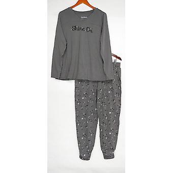 Anybody Women's Pajama Set Cozy Knit Star Print Gray A345310