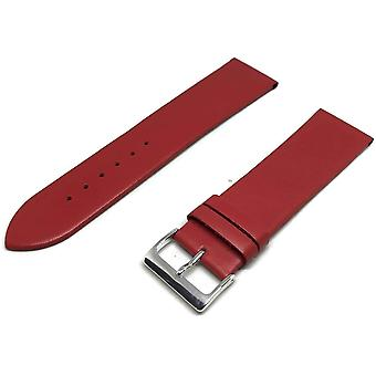 Calf leather watch strap red extra long chrome buckle 12mm to 30mm