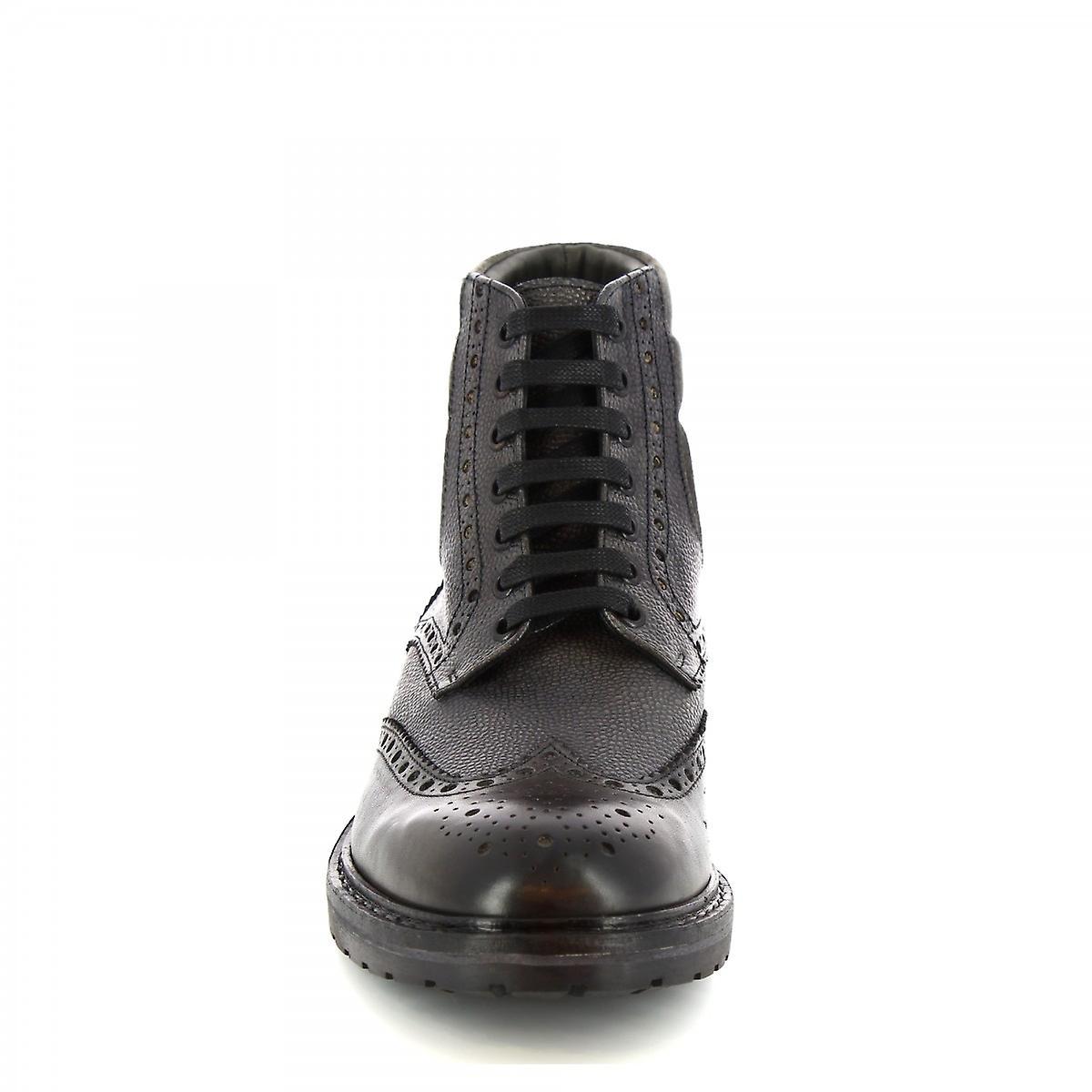 Leonardo Shoes Men's handmade lace-ups ankle boots gray leather crocodile print