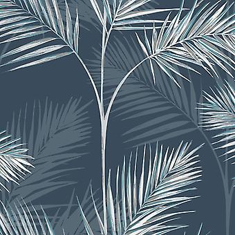 South Beach Palm Leaf Wallpaper Navy Blue Fine Decor FD42681