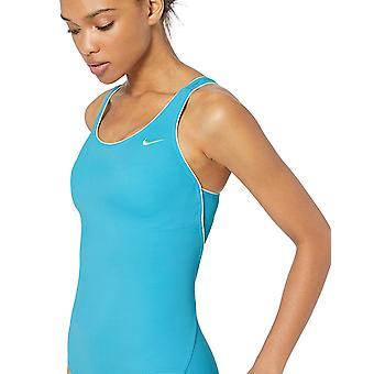 Nike Swim Women's Solid Powerback One Piece Swimsuit, Light, Blue, Size Large