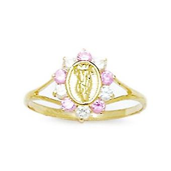 14k Yellow Gold Pink CZ Cubic Zirconia Simulated Diamond Size 5.5 Virgin Mary for boys or girls Ring
