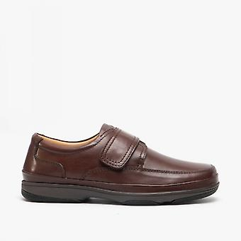Roamers Wallace Mens Burnished Couro Wide Fit Casual Shoes Brown