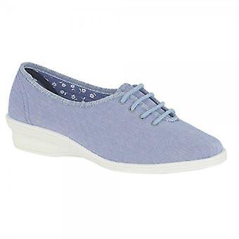 San Diego Anya Ladies Padded Oxford Fuller Fit Slippers Light Denim Blue