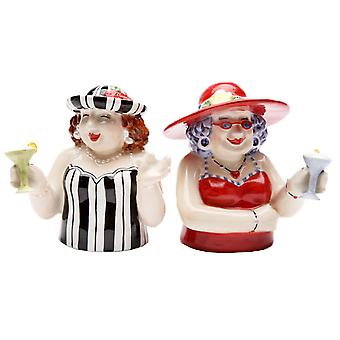 Sophisticated Ladies With a Drink Salt and Pepper Shakers