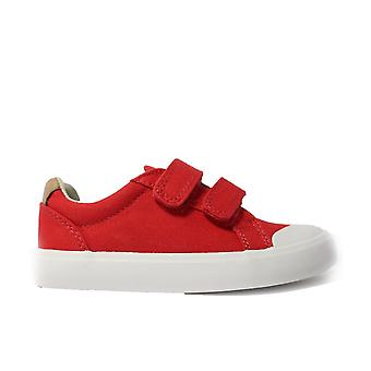 Clarks Halcy High Red Combination Canvas Unisex Rip Tape Zapatos Casual