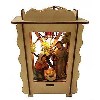 Geboorte ingesteld polyresin in houten lantaarn. Familie verlichting Elektra