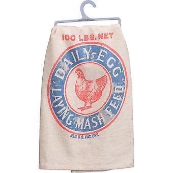 Postura galo zero de ovos diário alimentam cozinha prato toalha algodão