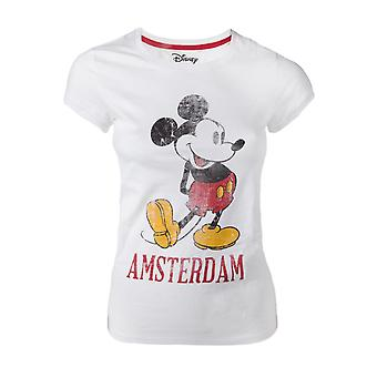 Officiële Disney Mickey Mouse witte vintage look Amsterdam vrouwen ' s T-shirt