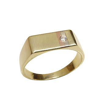 Tricolor gold cachet ring with diamond
