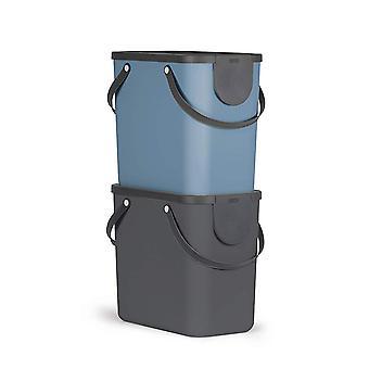 ROTHO 2er-Set Mülltrennsystem ALBULA Anthrazit / Blau 25l