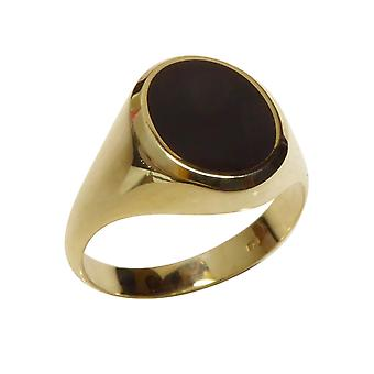 Christian yellow gold seal ring with onyx