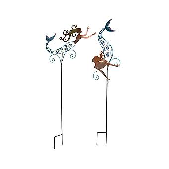 Colorful Metal Swimming Mermaid Garden Stake Set of 2 With Faceted Glass Bead Accents