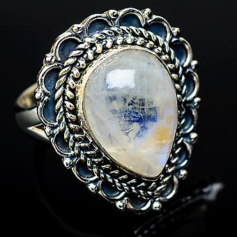 Rainbow Moonstone Ring Size 7.25 (925 Sterling Silver)  - Handmade Boho Vintage Jewelry RING11890