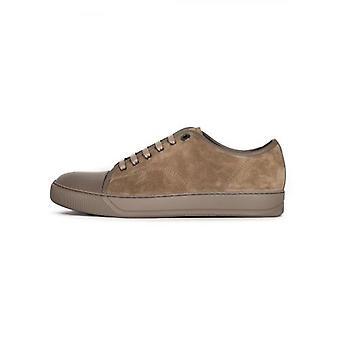 Lanvin Light Beige Suede & Leather Toe Cap Sneaker
