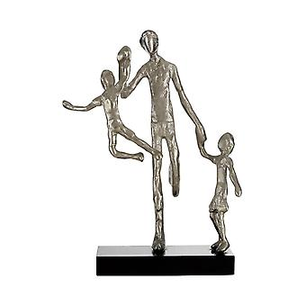 Premier Housewares complementa escultura de estatueta da família de prata MDF de alumínio
