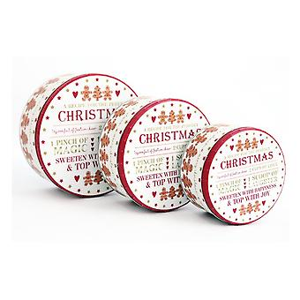 Round Christmas Storage Tins