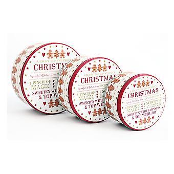 Round Christmas Storage Tins