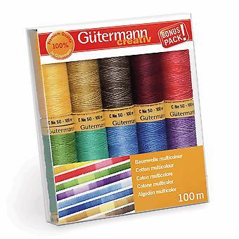 Gutermann 100% Natural Cotton Thread Set 100m Hand and Machine - 10 Assorted Reels