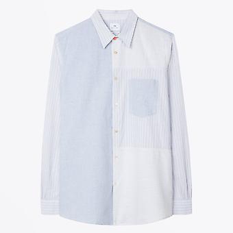 PS بول سميث -- القطن الكتان ميكس لوحة قميص -- الأزرق