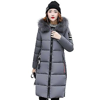 Womens Faux Fur Trim Hood Padded Long Parka Winter Coat