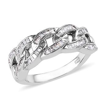 Curb Link White Diamond Ring Sterling Silver Platinum Plated , 0,33 Ct TJC