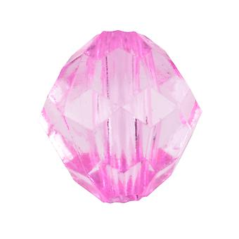Hot Pink Round Faceted 9mm Lucite Beads Pack of 50