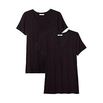 العلامة التجارية - طقوس اليومية المرأة & ق جيرسي قصيرة الأكمام V-الرقبة تي شيرت, أسود ...