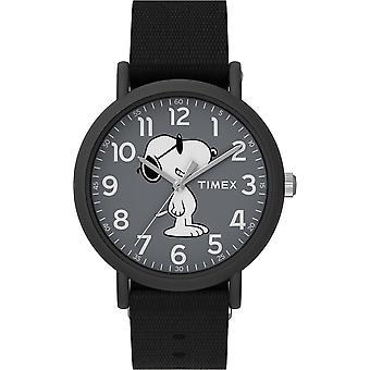TW2T65700, Timex x Peanuts TW2T65700 Joe Cool Weekender 34mm Black Fabric Strap Watch