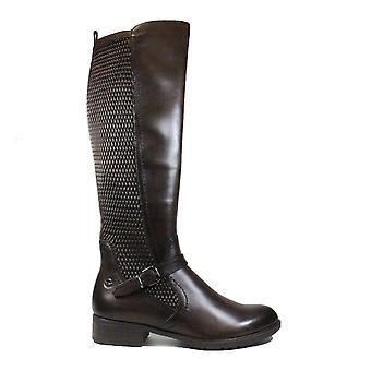 Tamaris 25511 חום עור / טקסטיל נשים מגפיים ברגל ארוכה