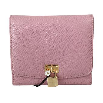 Dolce & Gabbana Pink Leather Blue Trifold Card Case Holder Women Wallet -- VA86393328