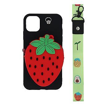 iPhone 11 Shell / Portfel Case Truskawka / Czarny / Czerwony