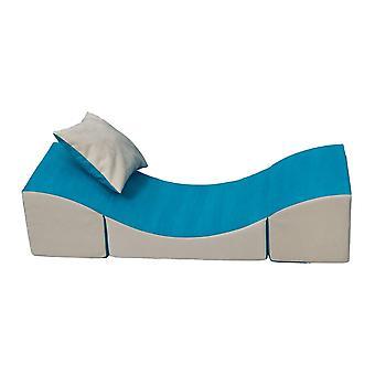 Kinder relaxstoel meubel schuim blauw & beige