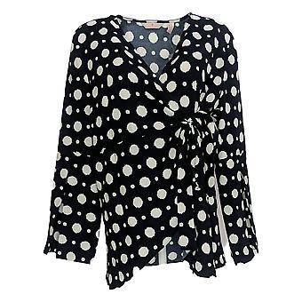 Laurie Felt Women's Top Woven Wrap Blouse w/ Sleeve Detail Black A346610
