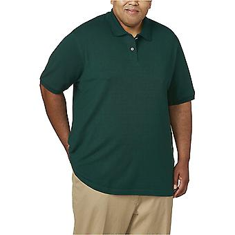 أساسيات الرجال كبيرة وطويلة القطن بيكيه بولو قميص تناسب DXL، هنتر الأخضر، 4XLT