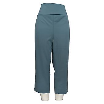 Antthony Women's Plus Pants Crop Tummy Smoothing Pedal Pusher Blue 695-063