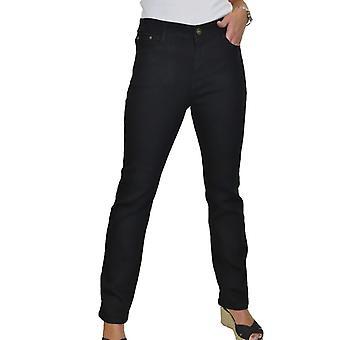 Women's High Waist Straight Leg Stretch Jeans Ladies Pants Solid Colour 10-20