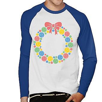 The Little Prince Christmas Festive Wreath Men's Baseball Long Sleeved T-Shirt