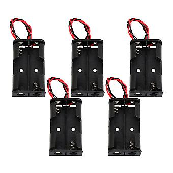 5 Pieces AA Battery Case Holder Storage Spring Clip Black Red Wire Leads