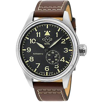 GV2 Men's Aeuronautica Black Dial Brown Calfskin Leather Watch