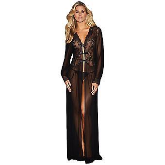 Sheer Long Sleeve Lace Robe