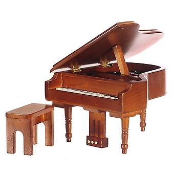 Dolls House Miniature Furniture Musical Walnut Wood Grand Piano