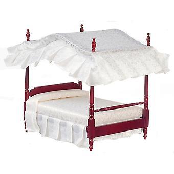 Dolls House Mahonie Double 4 Poster Canopy Bed Miniatuur 1:12 Slaapkamer meubilair