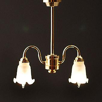 Dolls House 2 Arm Chandelier Frosted Tulip Shades Down 12v Electric Lighting