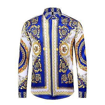 Koszule męskie, Hipster Long Sleeve, Luxury Design Baroque Floral Print,