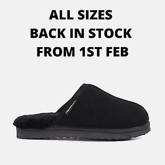 Allen black sheepskin slippers