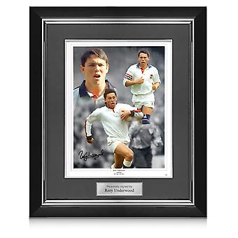 Rory Underwood Signed England Rugby Photo. Deluxe Frame